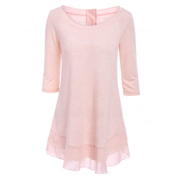 Stylish Scoop Neck Solid Color 3/4 Sleeve T-Shirt Dress For Women