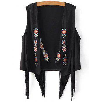 Chic Embroidered Women's Suede Fringe Waistcoat