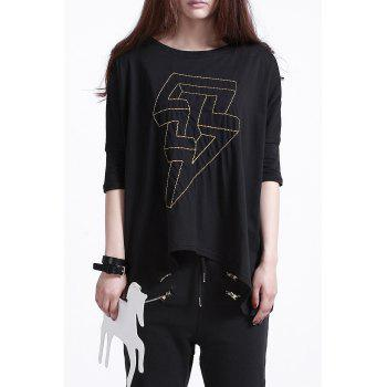 Lightning Embroidery Round Neck T-Shirt