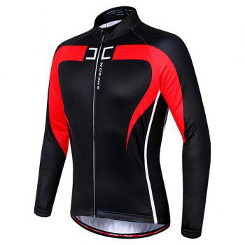 Chic Quality Long Sleeve Thermal Fleece Cycling Jacket For Unisex - RED/BLACK RED/BLACK