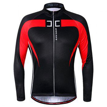 Chic Quality Long Sleeve Thermal Fleece Cycling Jacket For Unisex - RED WITH BLACK RED/BLACK