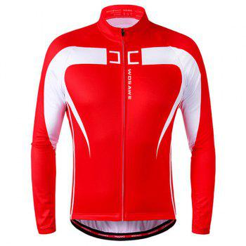 Chic Quality Long Sleeve Thermal Fleece Cycling Jacket For Unisex - RED WITH WHITE RED/WHITE