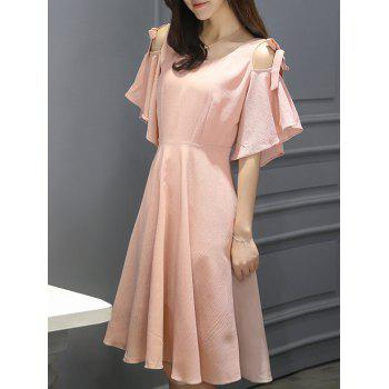Stylish Women's Cold Shoulder Butterfly Sleeve Dress - PINK PINK