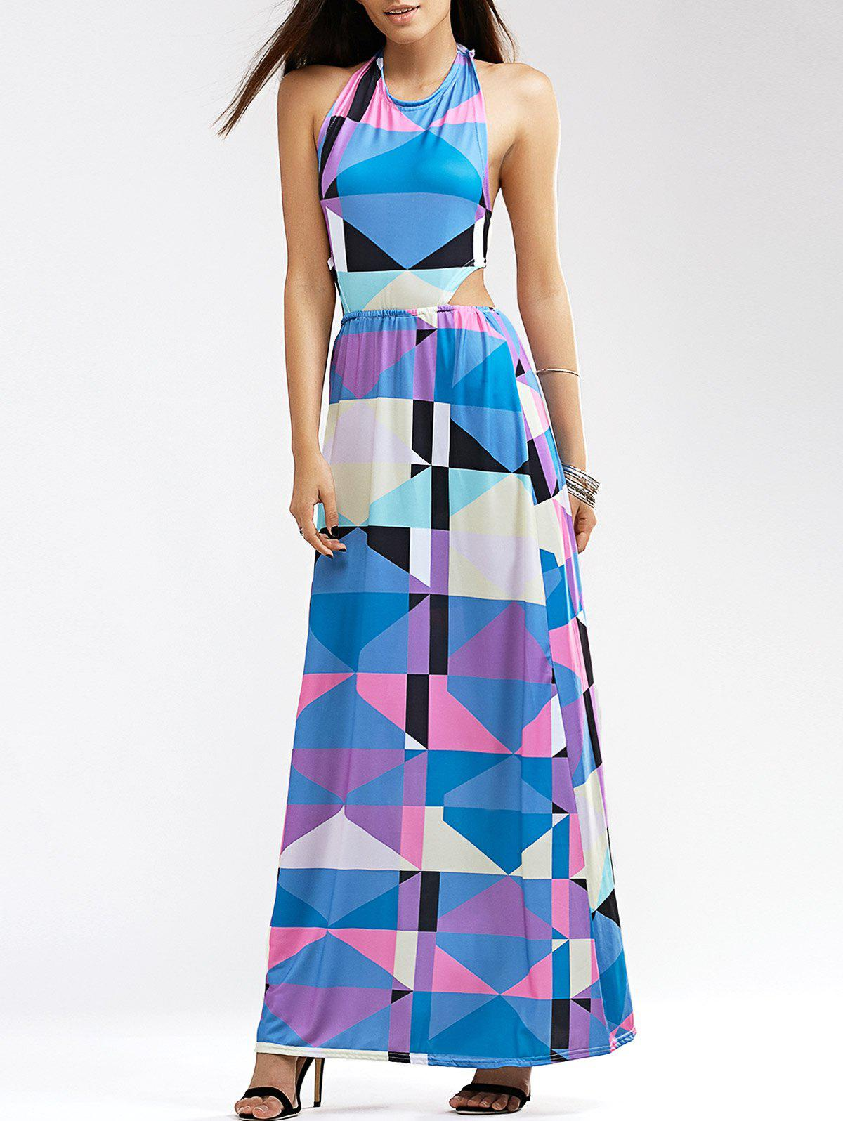 Halter Neck Bowknot Backless Brief Geometric Print Women's Dress - L COLORMIX