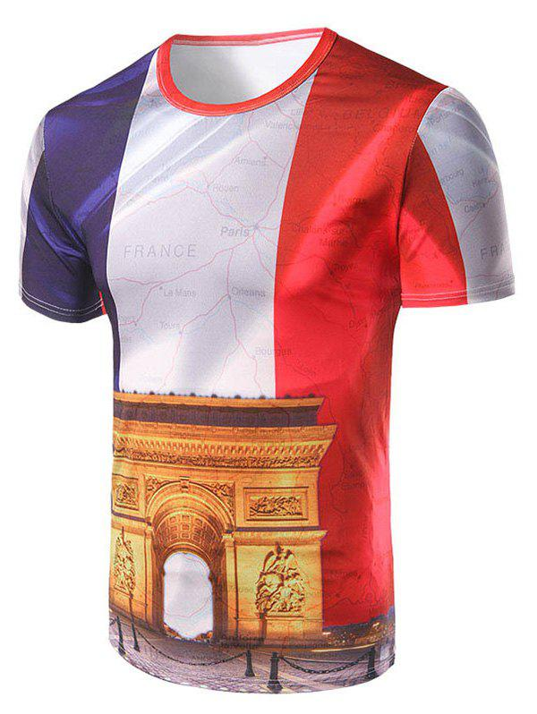 Men's Casual Short Sleeve Arch of Triumph Printed T-Shirt - COLORMIX M