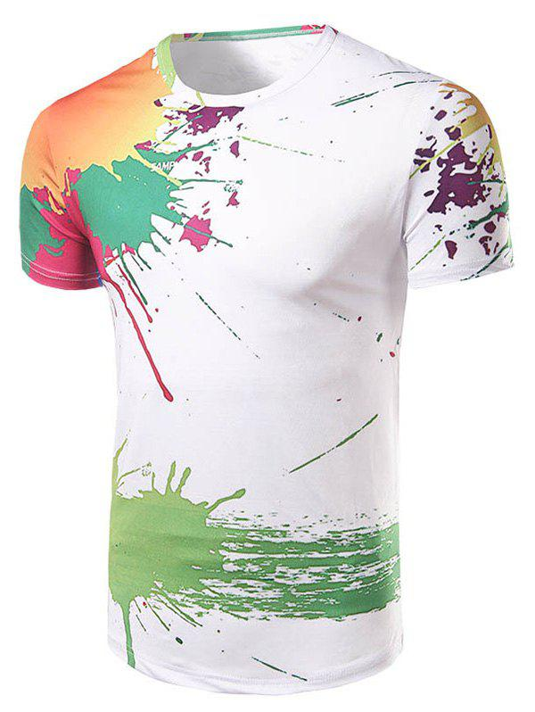 Men's Casual Short Sleeve Painting T-Shirt - WHITE 2XL
