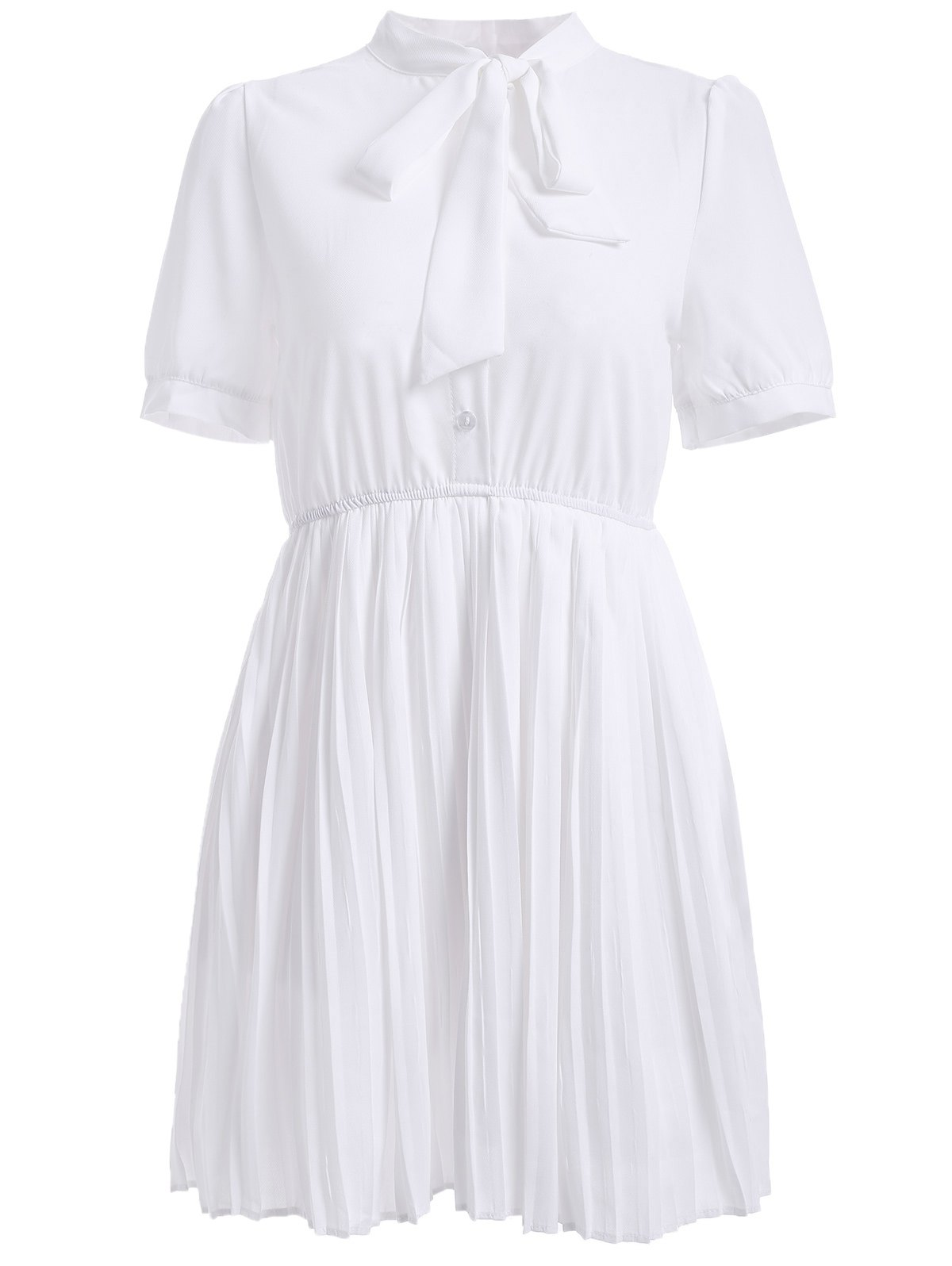 Casual Women's Solid Color Stand Neck Tie Short Sleeves Chiffon Pleated Dress - WHITE ONE SIZE(FIT SIZE XS TO M)