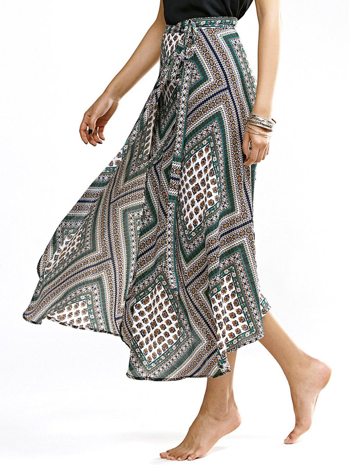 Retro Style High Waist Printed Wrap Skirt For Women