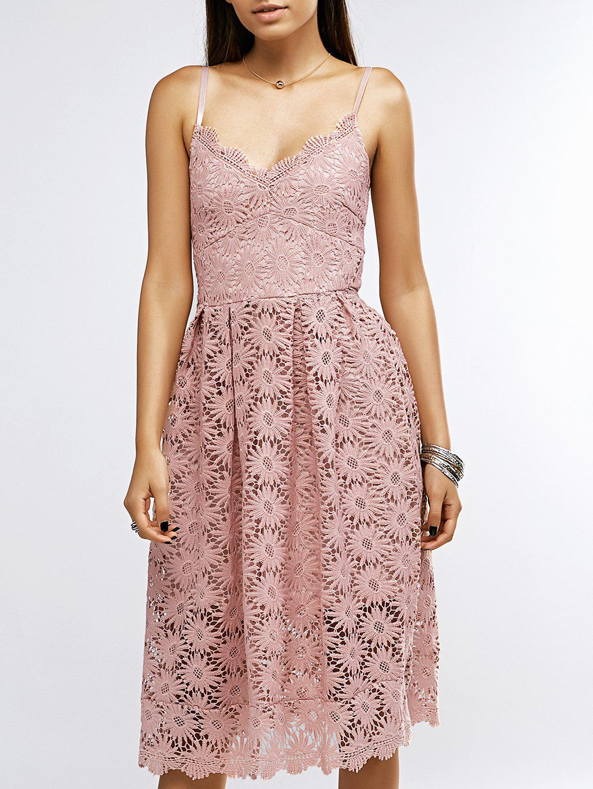 Women's Spaghetti Strap High Waisted Lace Midi Dress - PINK L
