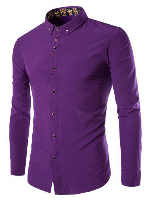 Men's Button-Down Collar Solid Color Long Sleeve Shirt - PURPLE 3XL