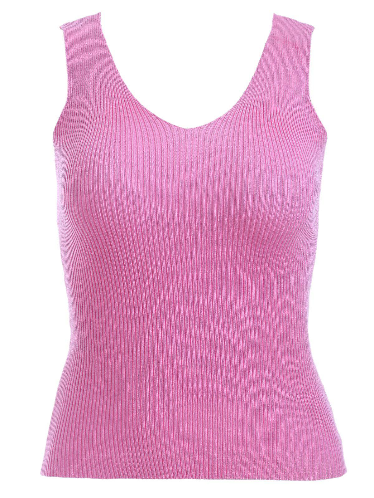 Preppy Pure Color V Neck Knitted Tank Top For Women - ROSE ONE SIZE(FIT SIZE XS TO M)