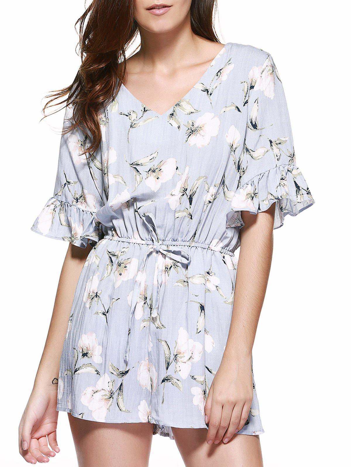 Refreshing V-Neck Ruffles Sleeve Flower Print Romper For Women - LIGHT BLUE ONE SIZE(FIT SIZE XS TO M)
