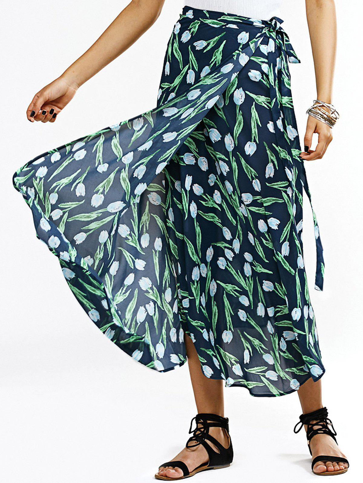 Stylish Women's Floral Print Wrap Skirt - ONE SIZE(FIT SIZE XS TO M) GREEN
