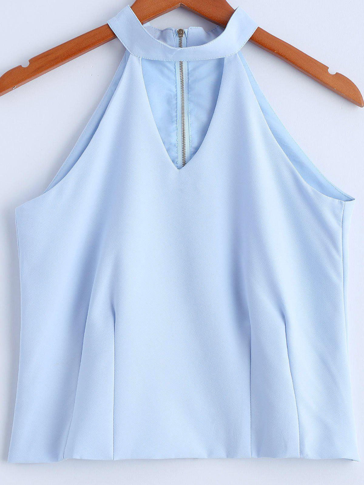 Stylish Women's Solid Color Jewel Neck Cut Out Zipper Fly Sleeveless Top - LIGHT BLUE M