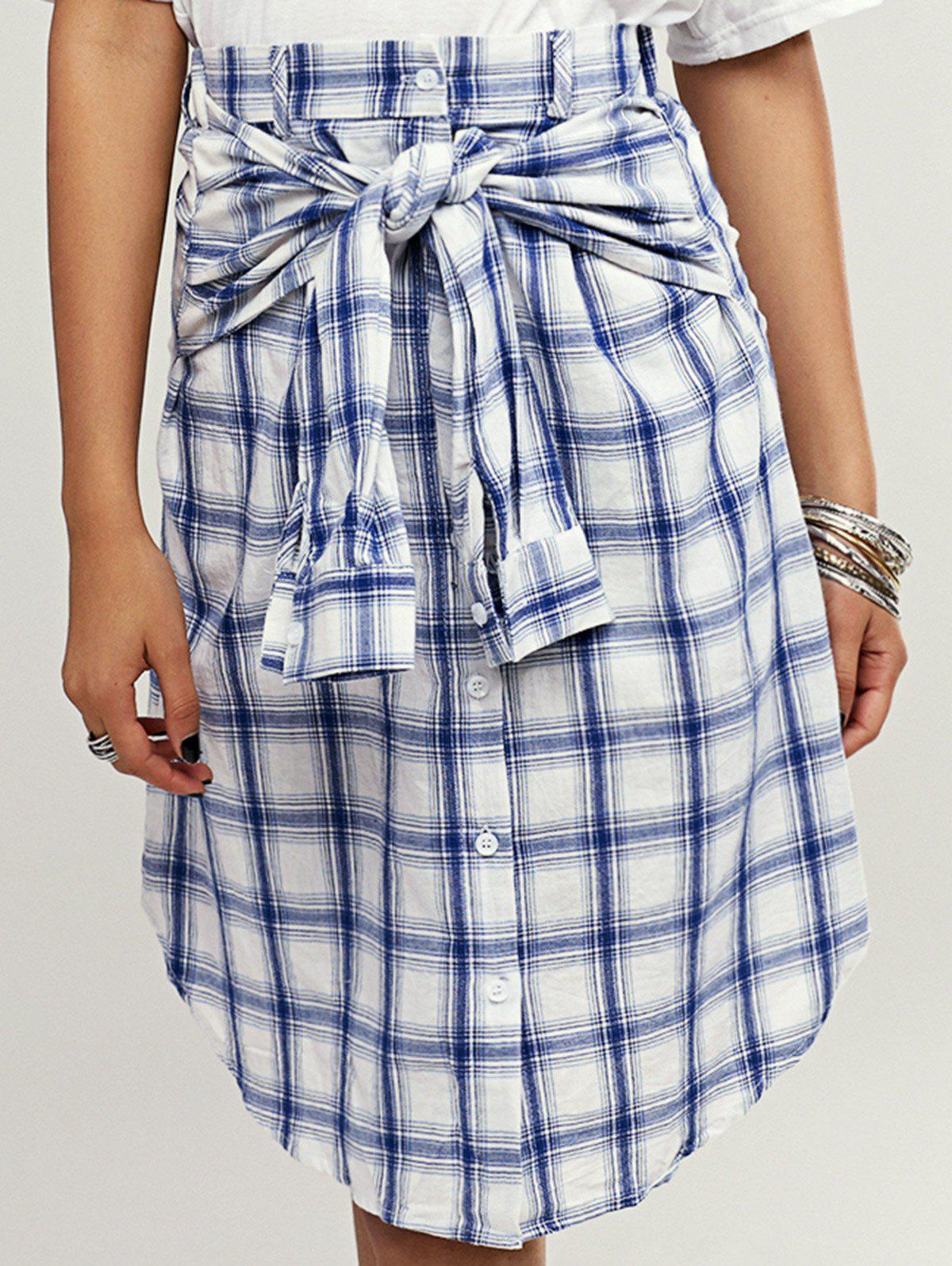 Stylish Button Front Plaid Curved Hem Women's Skirt - BLUE ONE SIZE(FIT SIZE XS TO M)