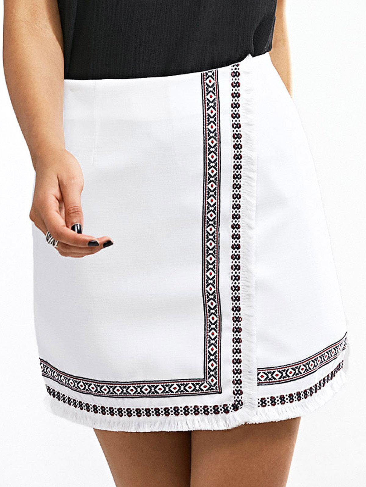 Ethnic Women's Embroidered Fringed Skirt - WHITE L