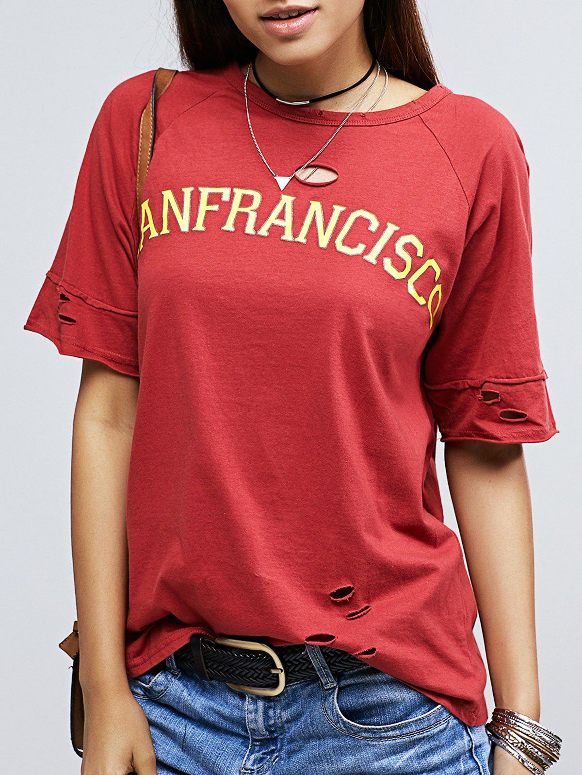 Brief Round Collar Red Letter Distressed Women's T-Shirt - RED ONE SIZE(FIT SIZE XS TO M)