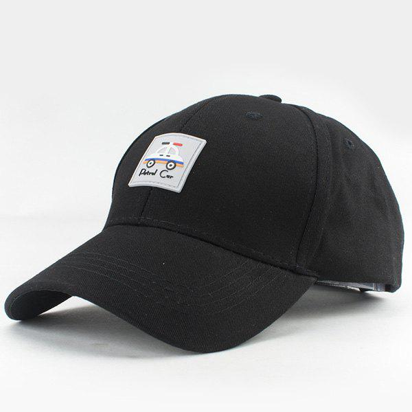 Hot Summer Police Car Square Labelling Embellished Women's Baseball Hat - BLACK