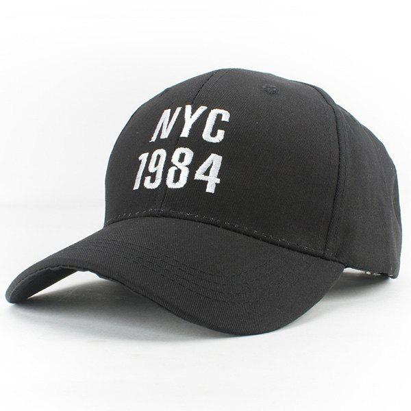 Stylish Letters and Year Numbers Embroidery Men's Casual Baseball Hat -  BLACK