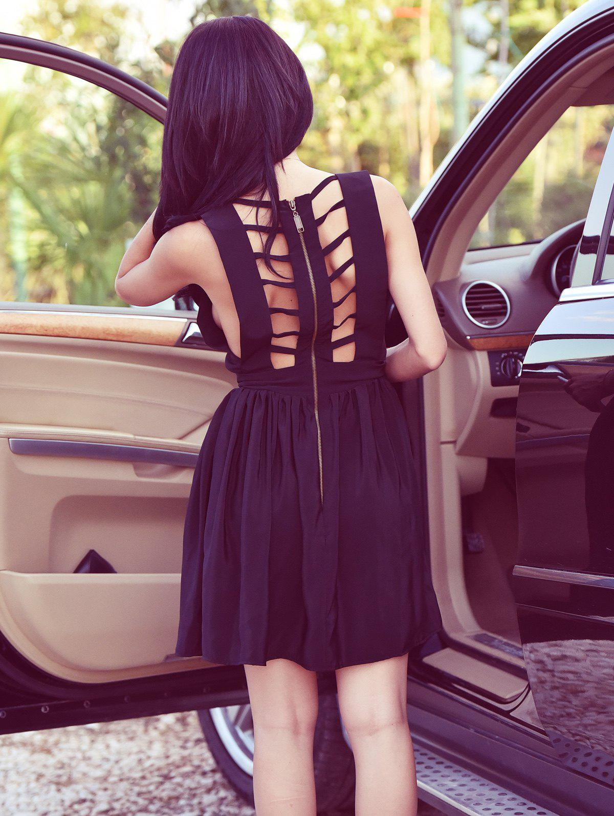 Open Back Sleeveless Bandage Cut Out Dress - BLACK XL