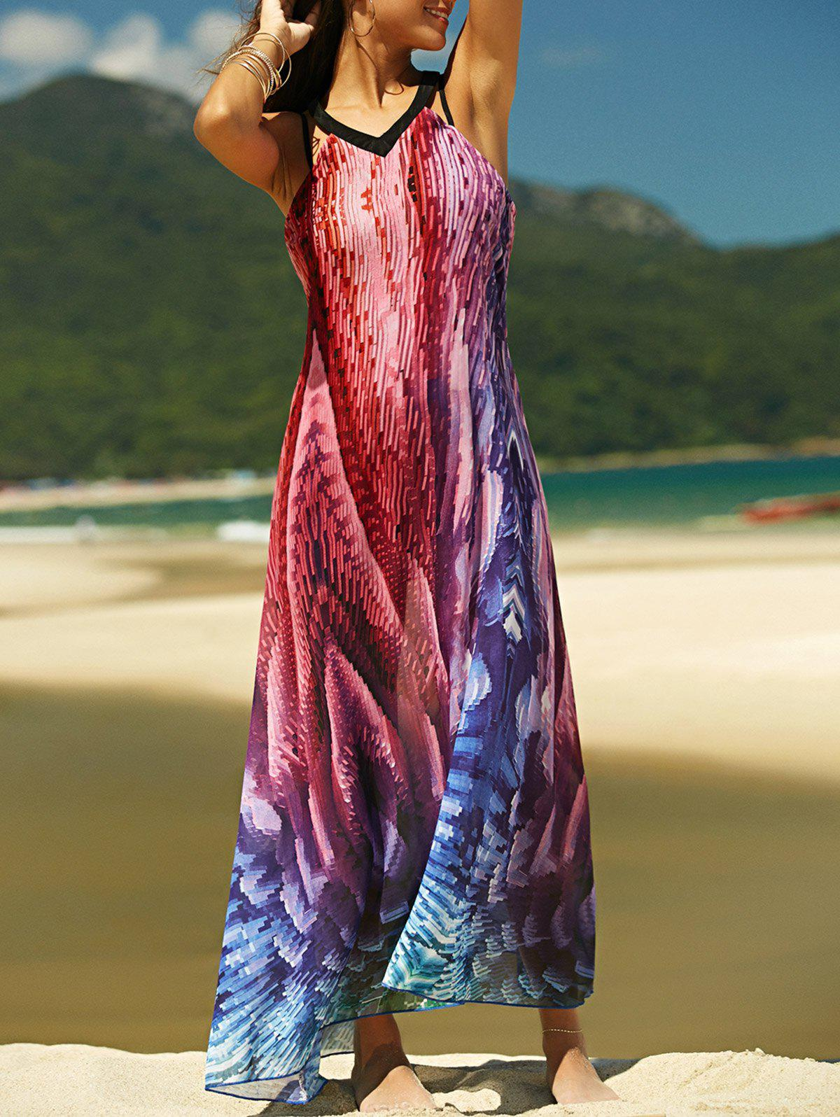 Trendy V-Neck Backless Chiffon Printed Women's Dress - COLORMIX 2XL
