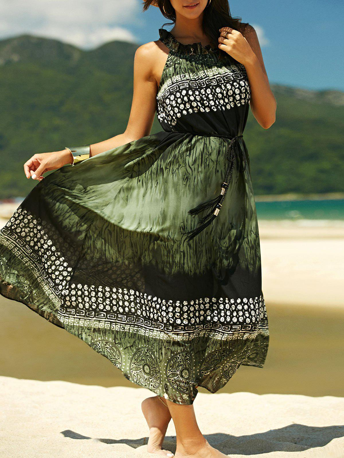 Charming Sleeveless Loose-Fitting Chiffon Printed Womens DressWomen<br><br><br>Size: XL<br>Color: BLACKISH GREEN