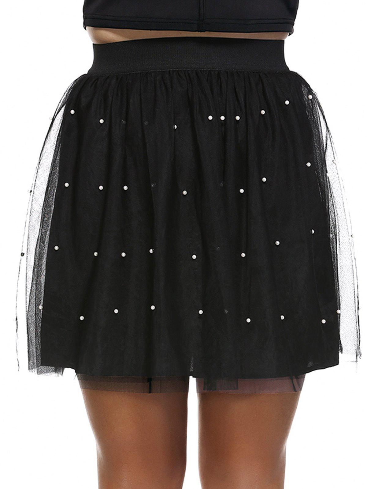 Fashionable Plus Size Pleated Beaded Women's Skirt - BLACK 4XL