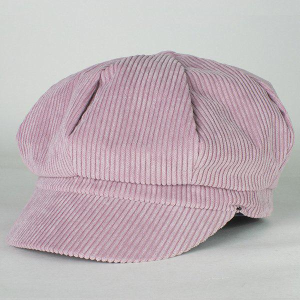 Chic Candy Color Corduroy Ivy Octagonal Women's Newsboy Hat - LIGHT PURPLE