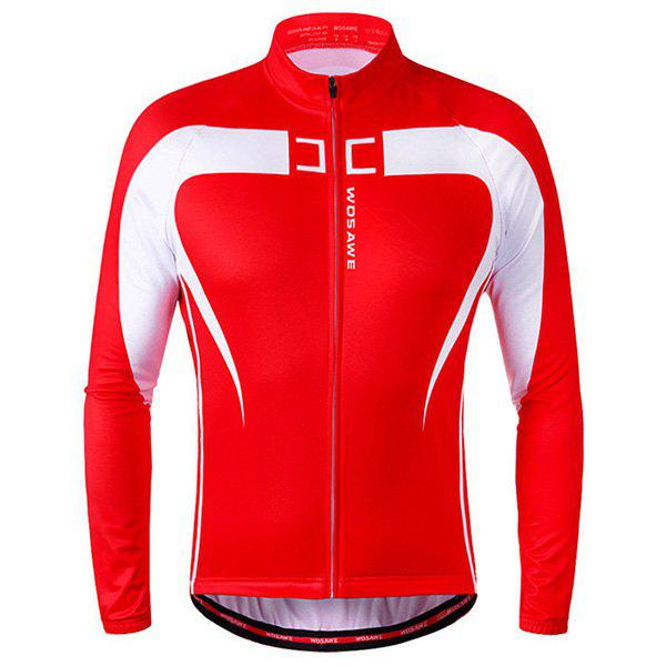 Chic Quality Long Sleeve Thermal Fleece Cycling Jacket For Unisex - RED/WHITE L