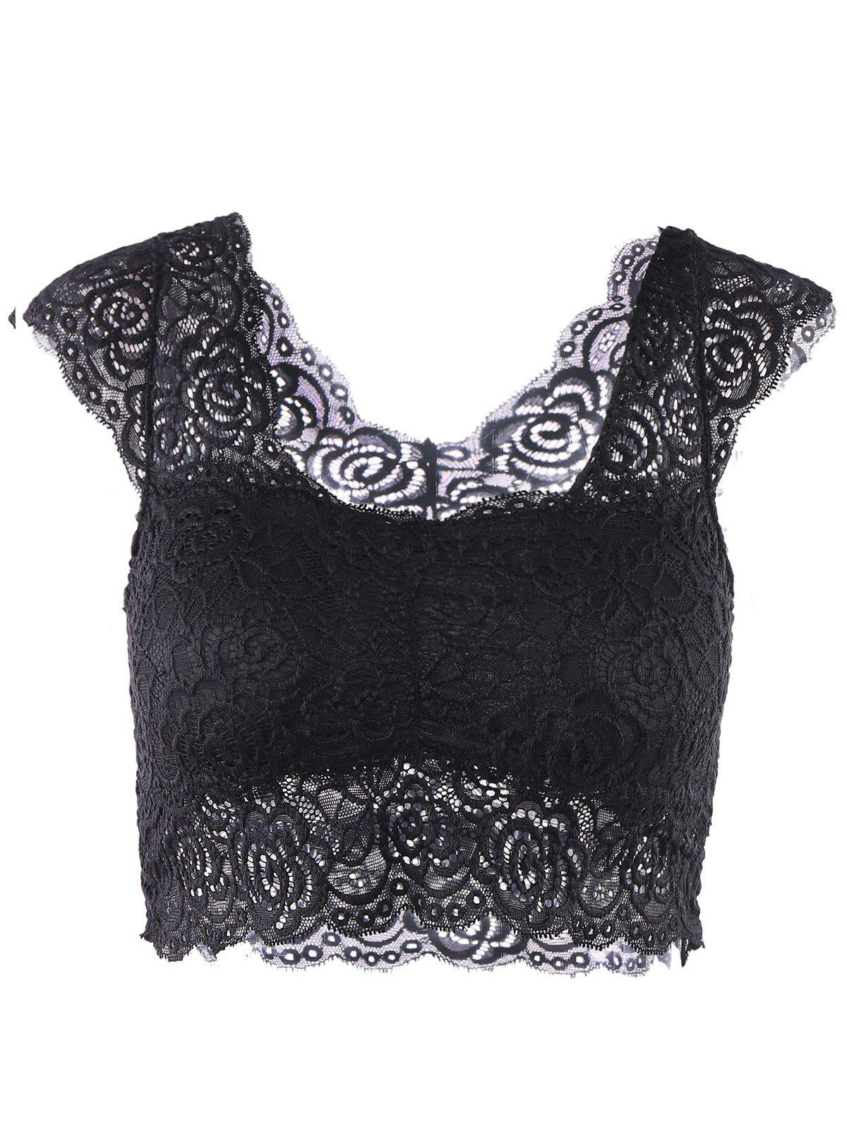 Fashionable Sweetheart Neck Solid Color Lace Women's Tank Top - BLACK ONE SIZE(FIT SIZE XS TO M)