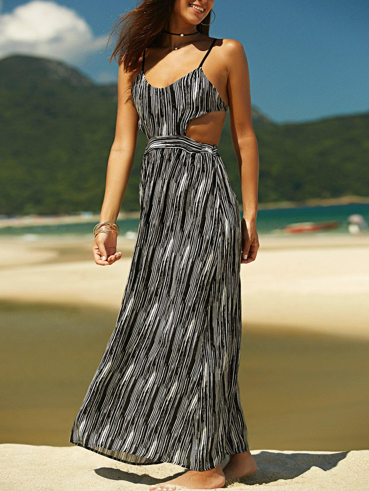 Bohemian Spaghetti Strap Printed Backless Criss-Cross Women's Dress - BLACK XL