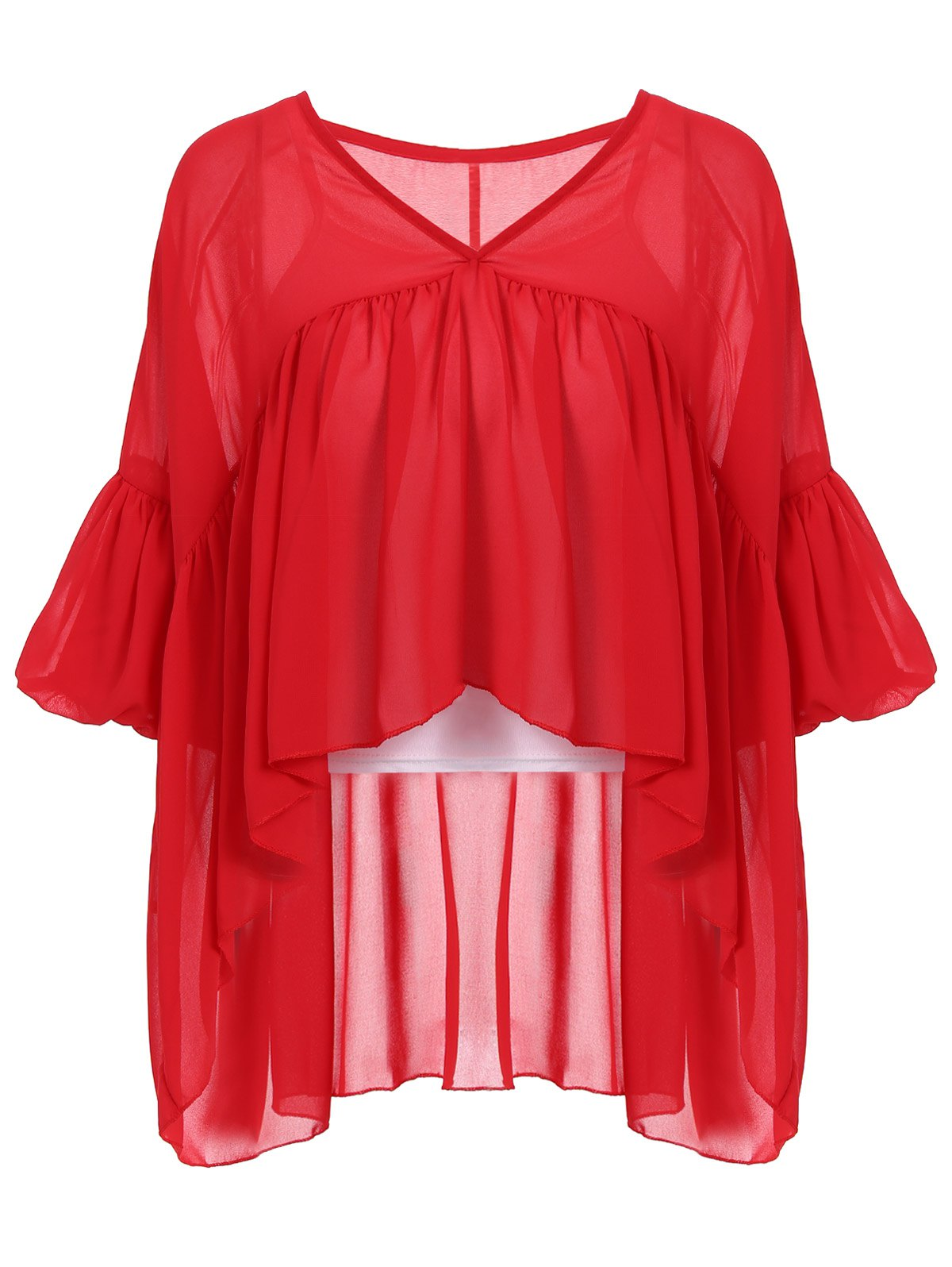 Stylish Women's V-Neck Lantern Sleeve Flounced Blouse + Tank Top - M RED