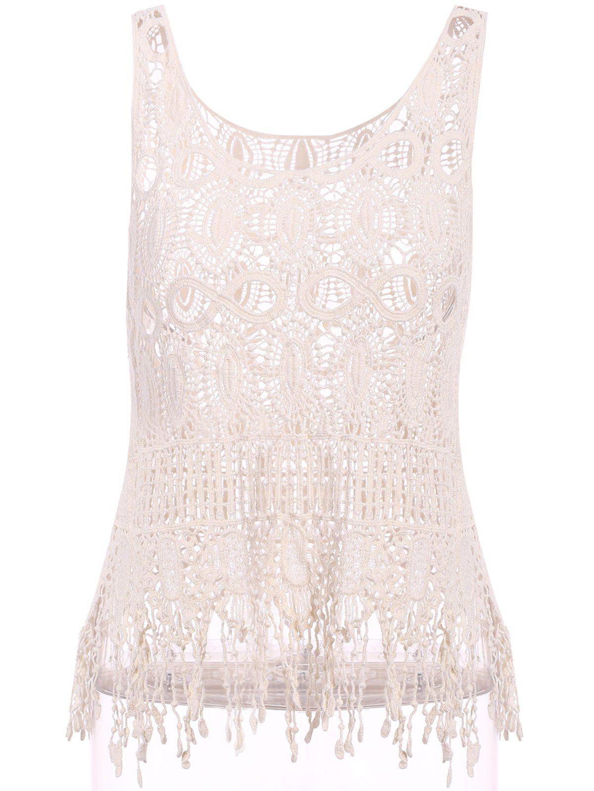 Chic Scoop Neck Sleeveless Crochet Pure Color Womens Tank TopWomen<br><br><br>Size: ONE SIZE(FIT SIZE XS TO M)<br>Color: BEIGE