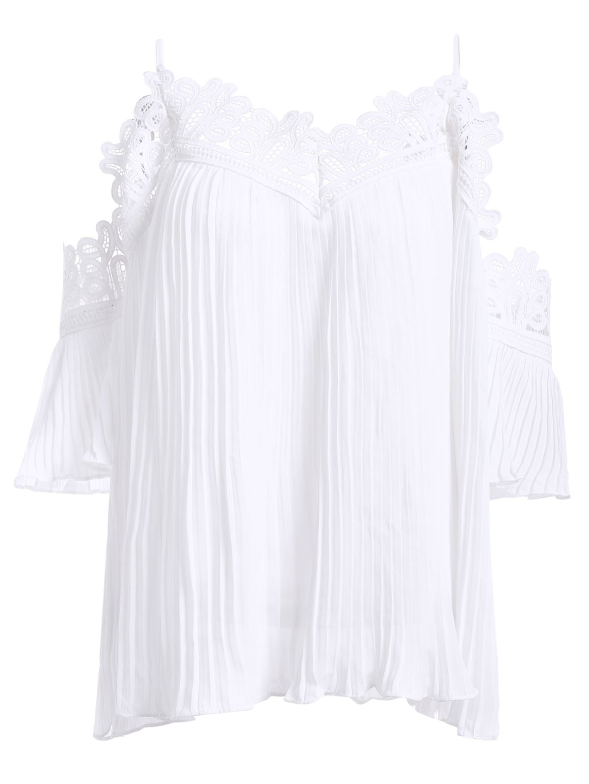 Loose-Fitting Women's Openwork Ruffles Spaghetti Strap Blouse - WHITE ONE SIZE(FIT SIZE XS TO M)