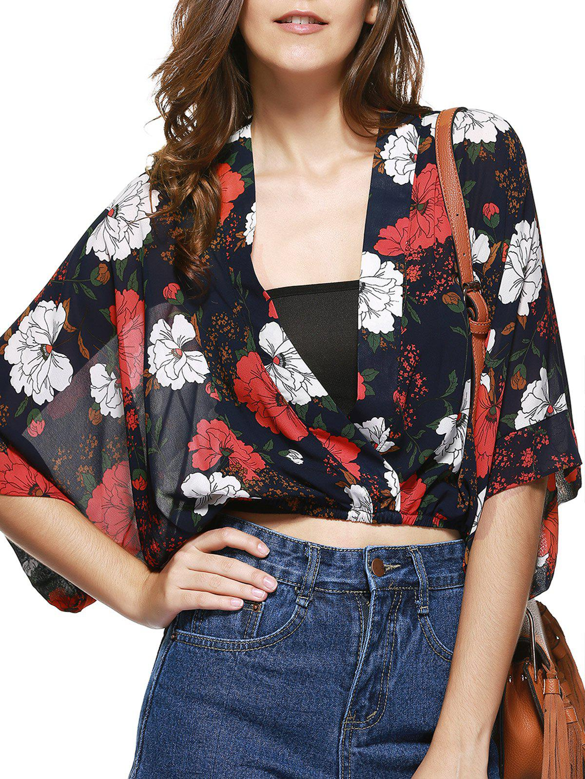 Stylish Plunging Neck Cropped Printed Blouse For Women - RED/BLACK ONE SIZE(FIT SIZE XS TO M)