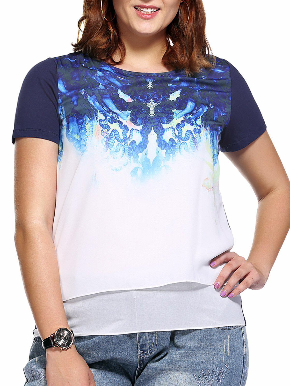 Trendy Plus Size Layered Printed Women's Blouse