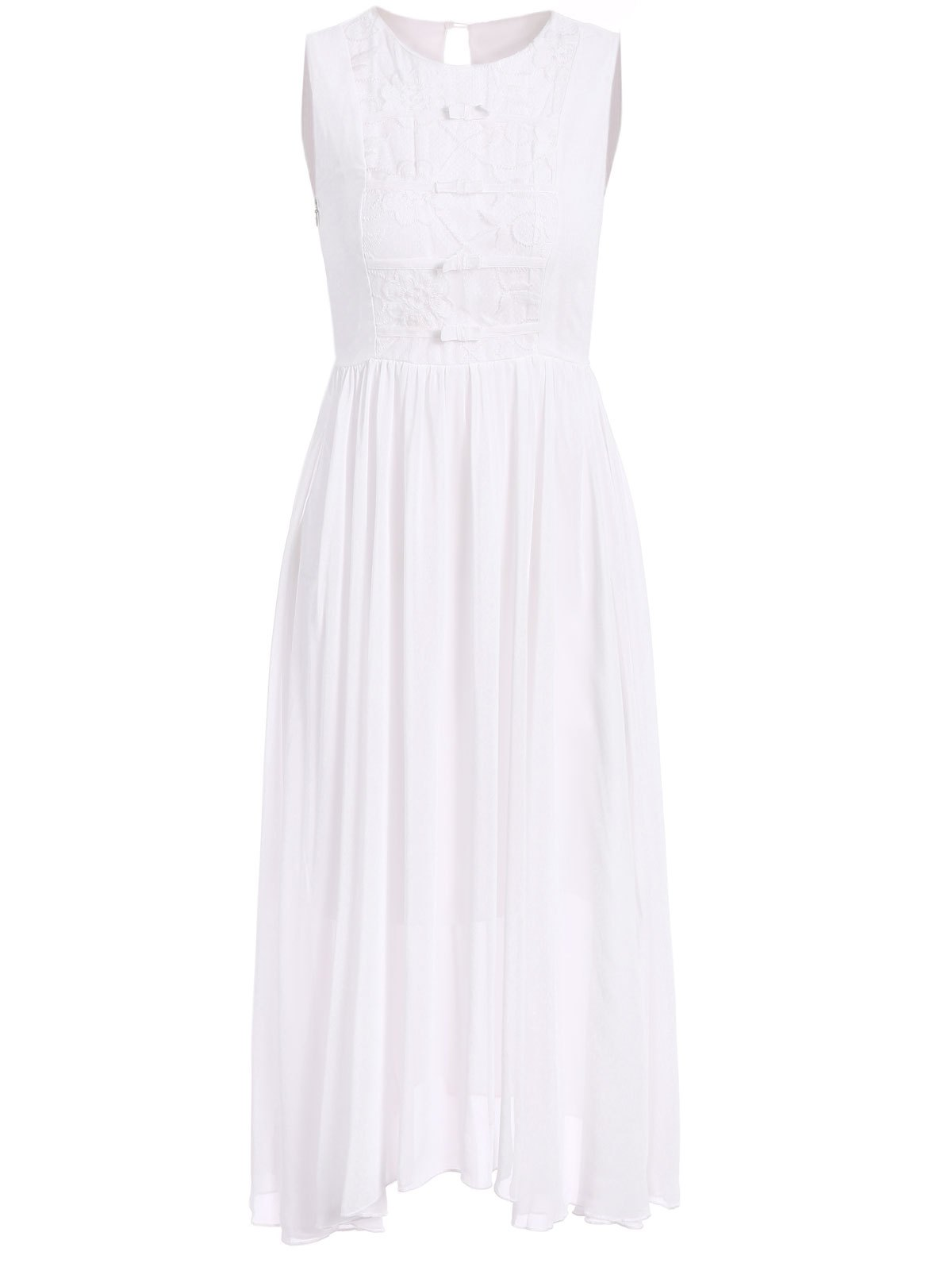 Bohemian Style Round Neck Sleeveless Bowknot Design Women's Dress - WHITE S