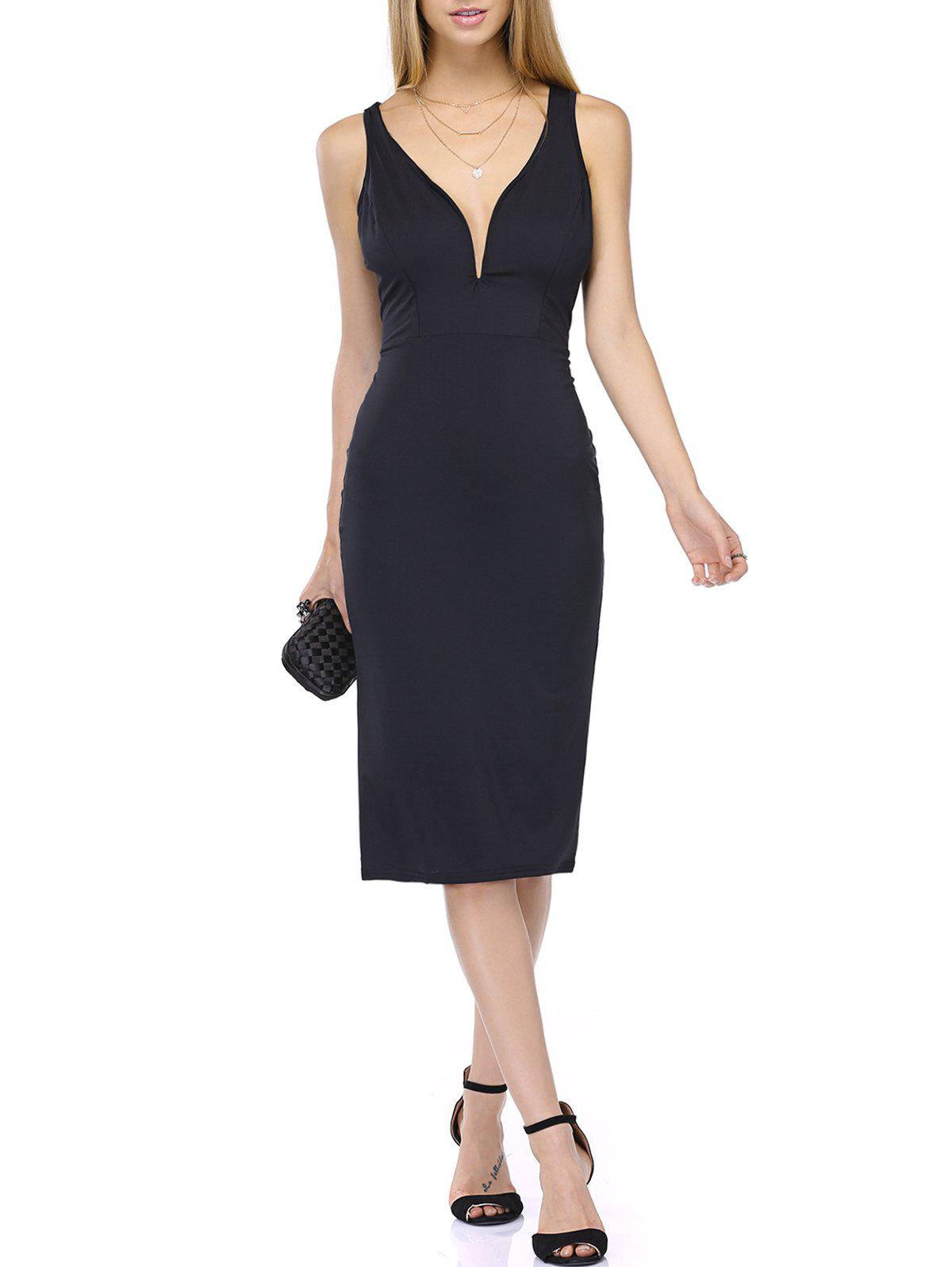 Plunging Neck High Waist Slimming Dress - BLACK M