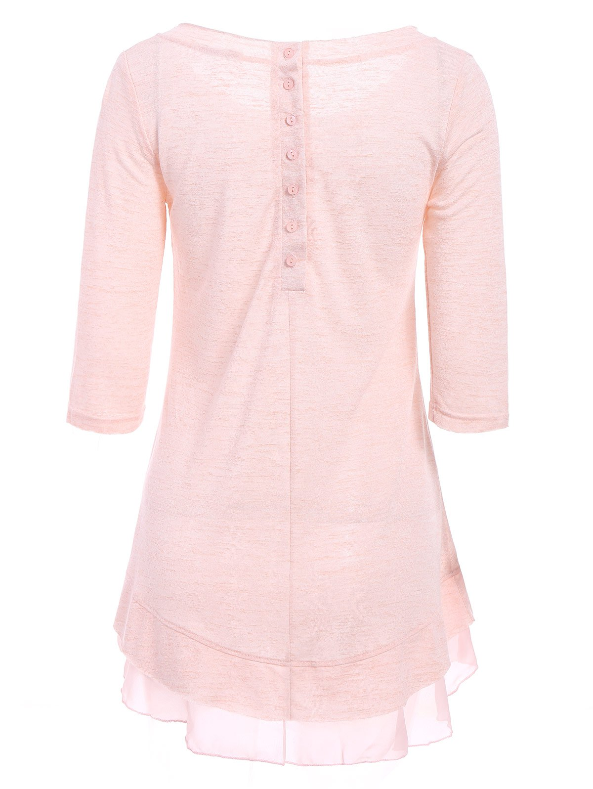 Stylish Scoop Neck Solid Color 3/4 Sleeve T-Shirt Dress For Women - LIGHT PINK L