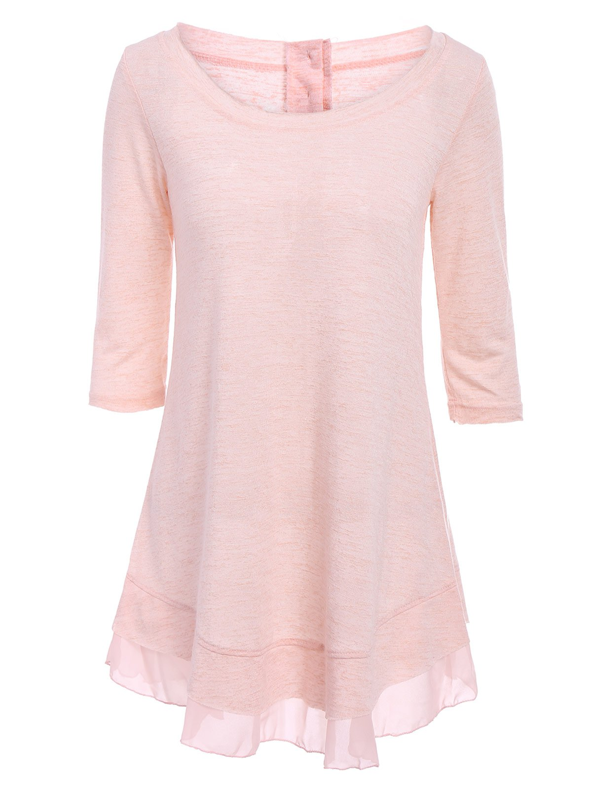 Stylish Scoop Neck Solid Color 3/4 Sleeve T-Shirt Dress For Women stylish scoop neck solid color ruched 3 4 sleeve irregular t shirt for women
