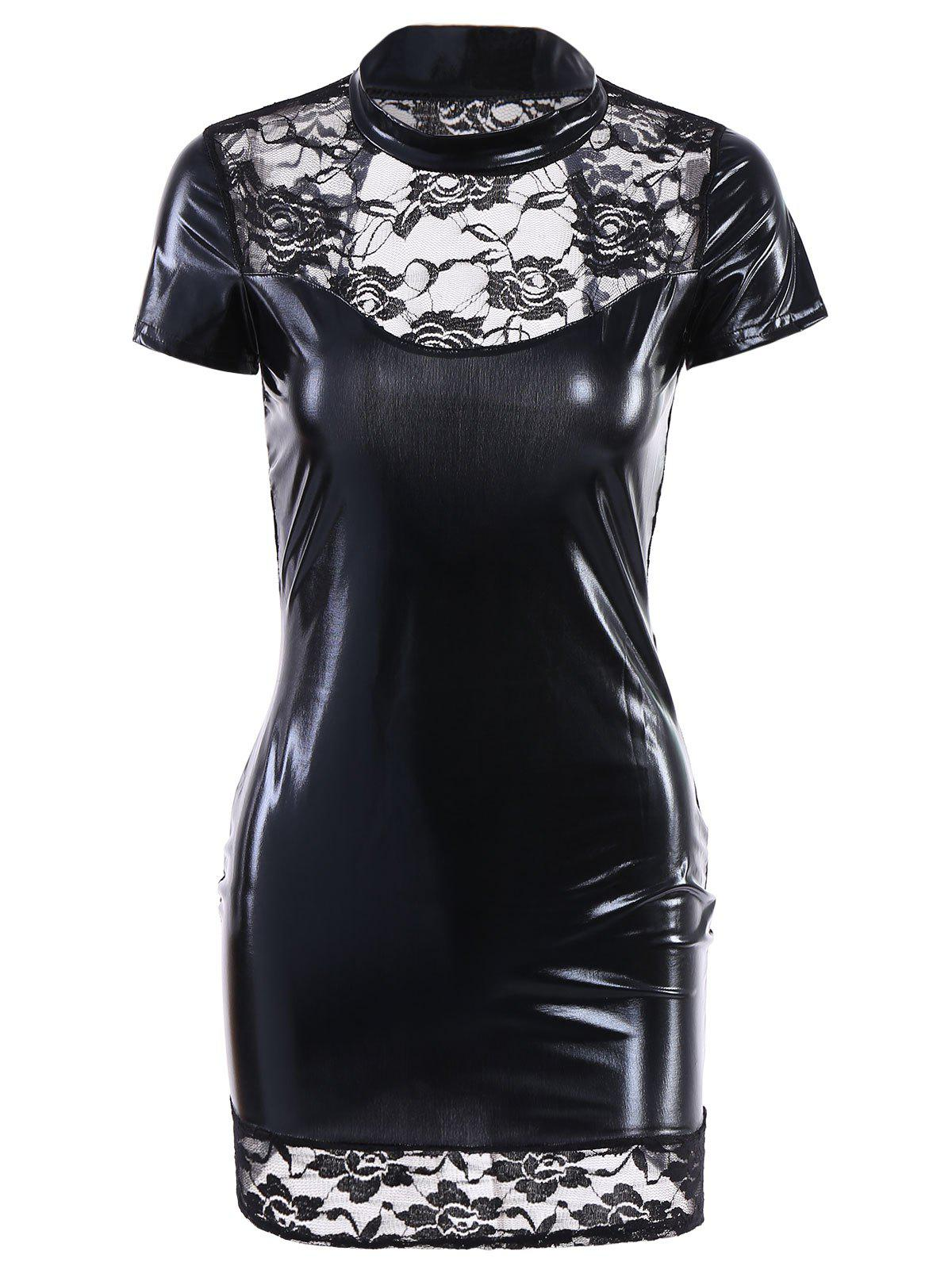 Sexy Women's Stand Collar Lace Spliced PU Laether Backless Short Sleeve Dress - BLACK M