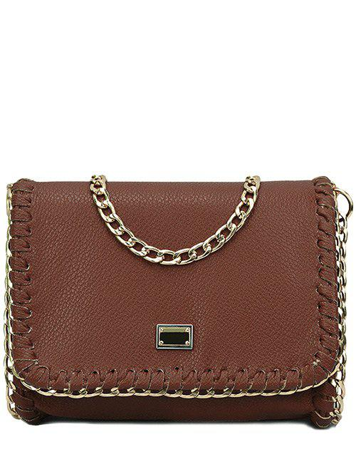 Trendy Chains and Stitching Design Crossbody Bag For Women - BROWN