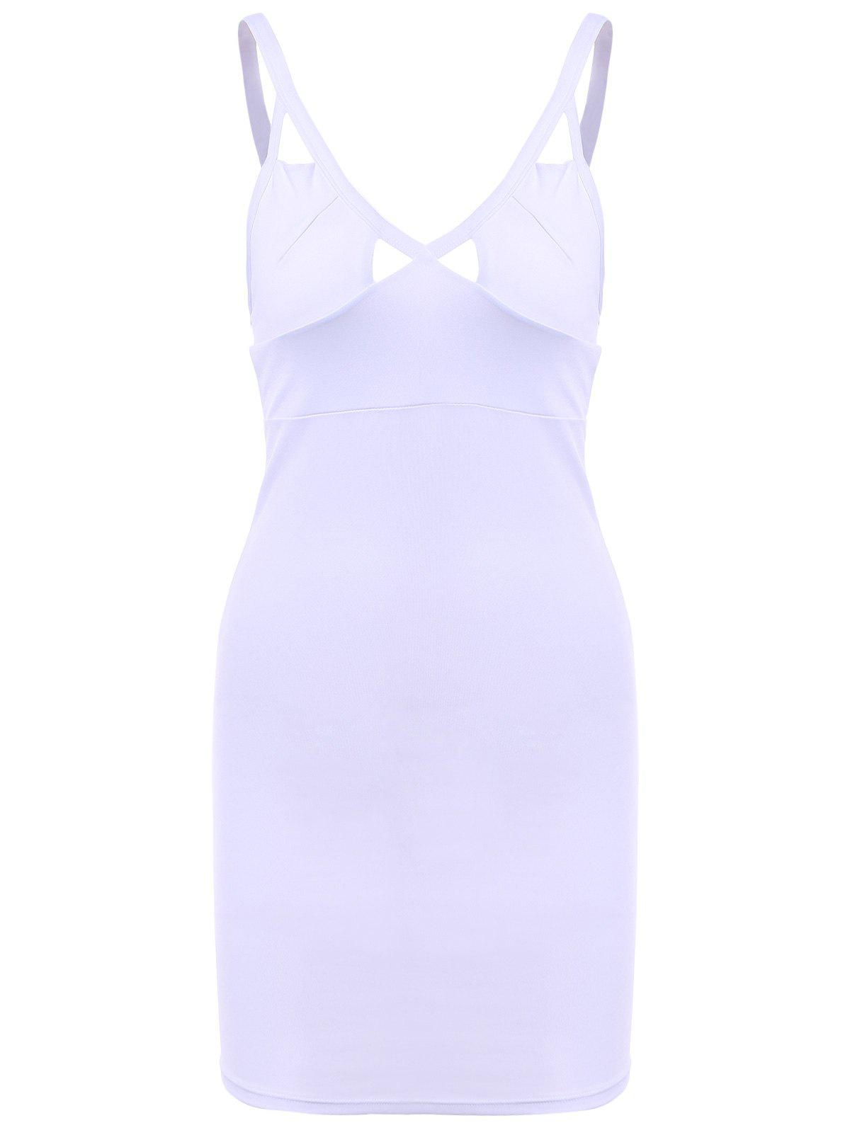 Sexy Women's Plunging Neck Sleeveless Solid Color Cut Out Bodycon Dress - WHITE ONE SIZE(FIT SIZE XS TO M)