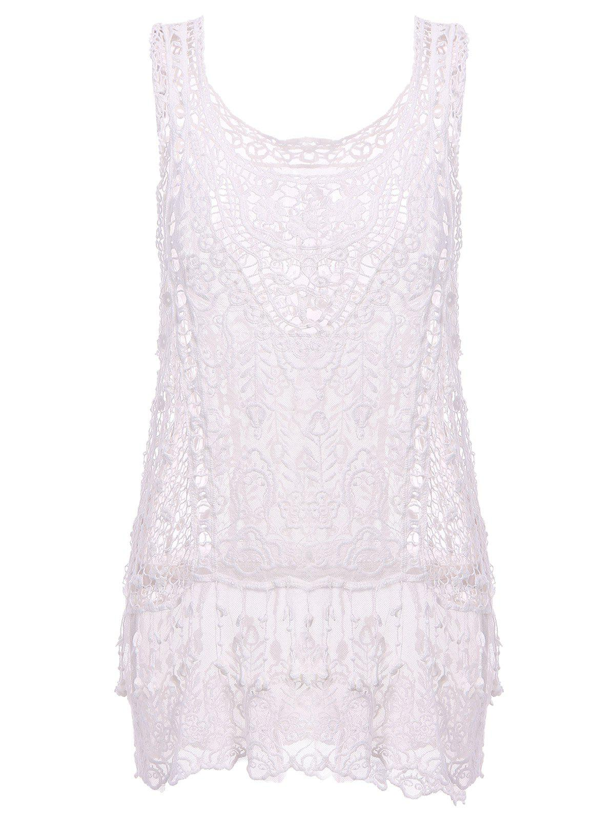 Fashionable Women's U Neck Sleeveless Crochet Cover-Up - WHITE ONE SIZE(FIT SIZE XS TO M)