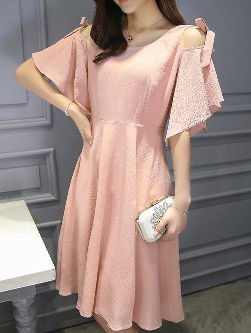 Stylish Women's Cold Shoulder Butterfly Sleeve Dress - PINK 2XL