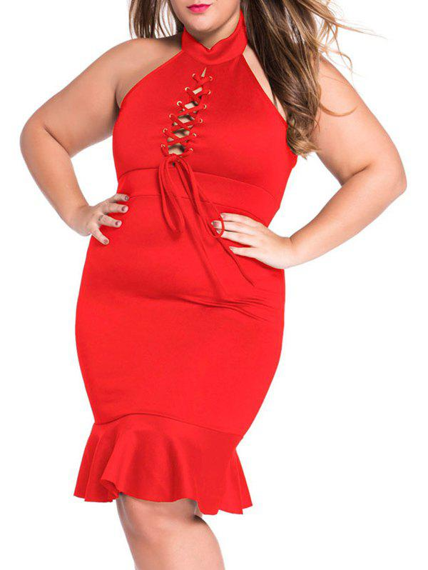 Plus Size Lace Up Mermaid Prom Dress - RED 3XL