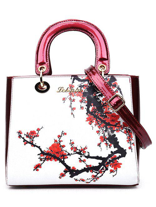 Graceful Flower Printed and PU Leather Design Women's Tote Bag - RED/WHITE