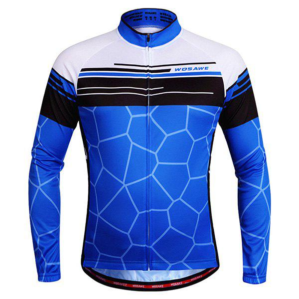 Fashionable Irregular Pattern Quick Dry Cycling Long Sleeve Jersey For Unisex - BLUE XL