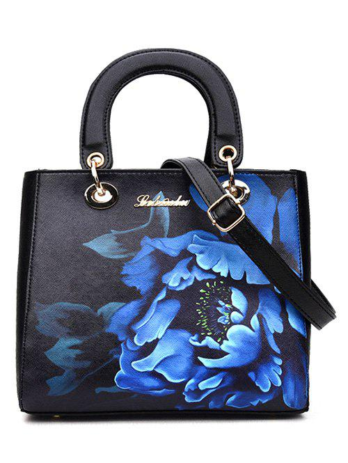 Graceful Flower Printed and PU Leather Design Women's Tote Bag - BLACK