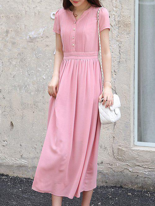 Stylish Women's V-Neck High Waisted Solid Color Dress - PINK S